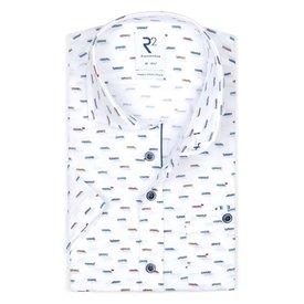 R2 Short sleeves white boat print organic cotton shirt.