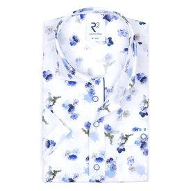 R2 Korte mouwen wit bloemenprint katoenen overhemd.