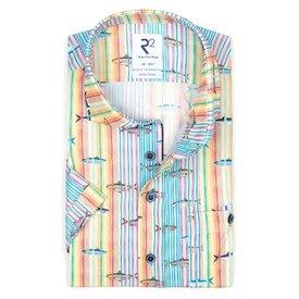 R2 Short sleeves striped fish print cotton shirt.