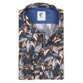 R2 Navy blauw bladerenprint katoenen overhemd