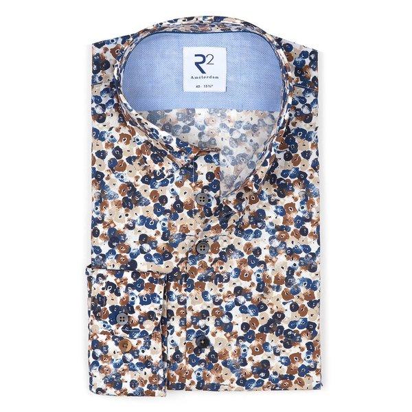 R2 Blauw bloemenprint katoenen overhemd.