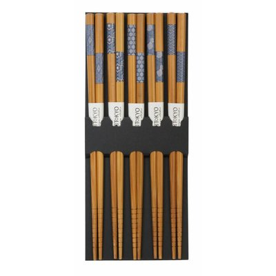 Eetstokjes Bamboe Indigo Patroon