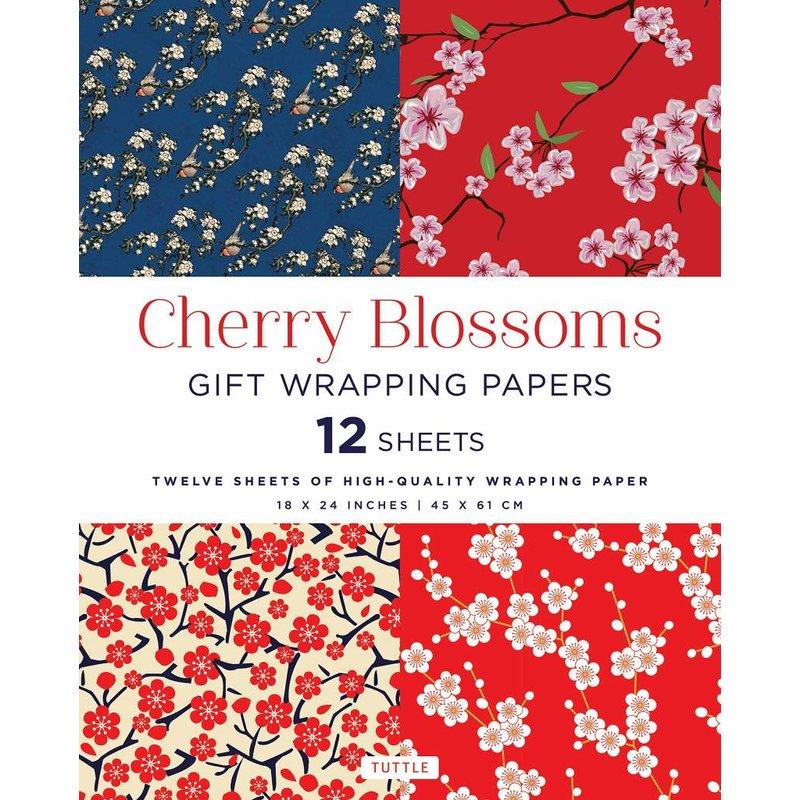 12 vellen cadeaupapier met de Japanse kersenbloesem