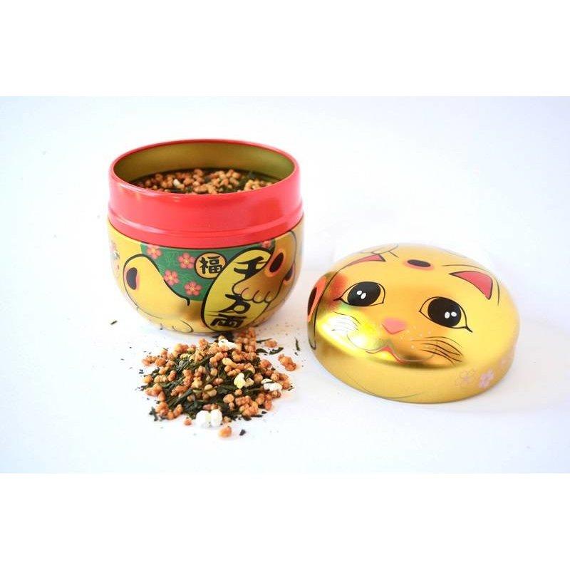 Theeblikje met Japans gelukskatje - goud