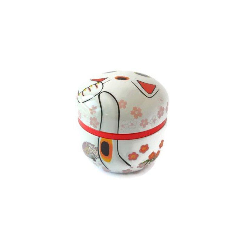 Tea tin with Japanese lucky kitten - white