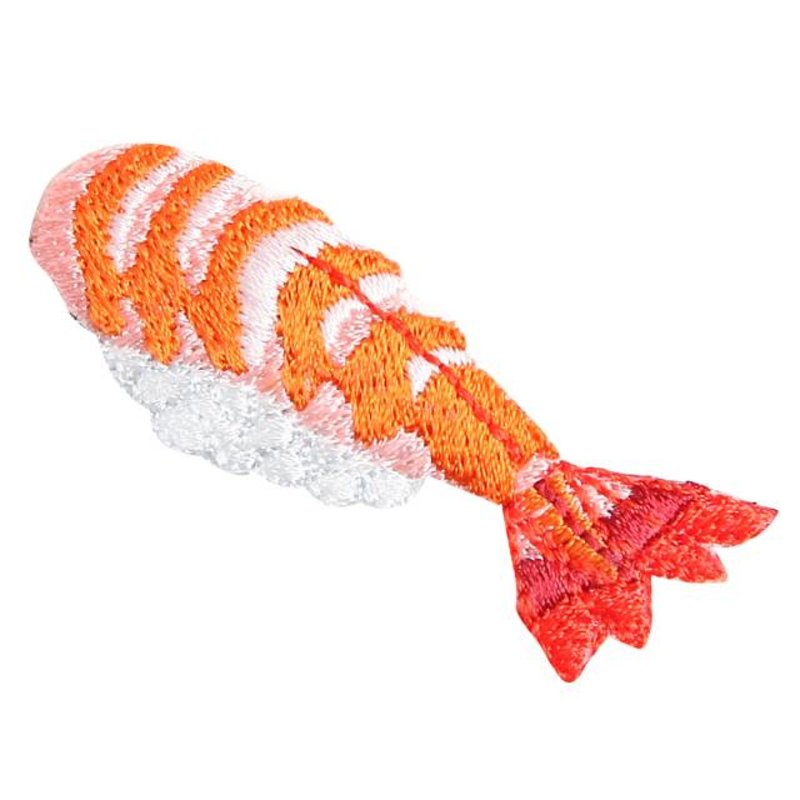Embroidered iron-on patch prawn sushi