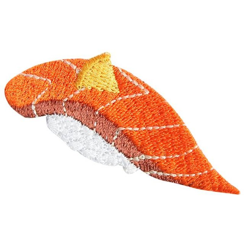 Embroidered iron-on patch salmon sushi