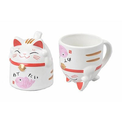 Tea Cup Lucky Cat Pink