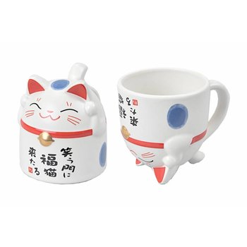 Tea Cup Lucky Cat Blue