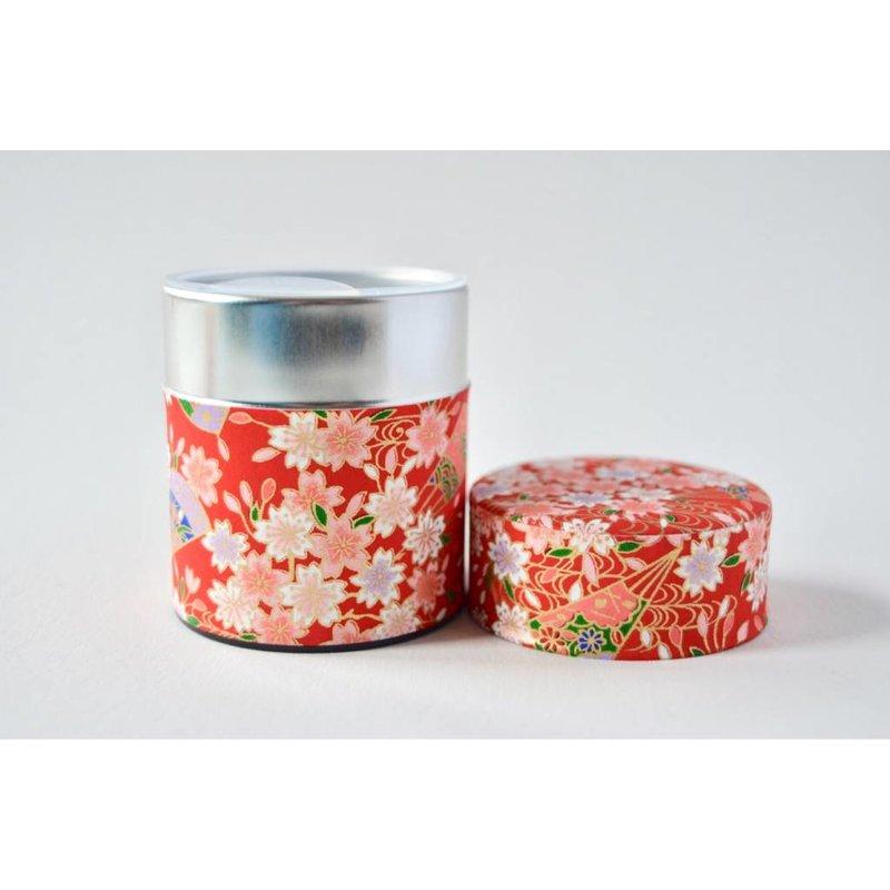 Japanese tea tin sakura - red