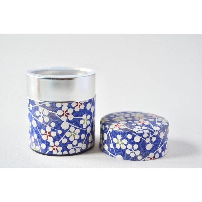 Japans theeblik blauw-witte bolletjes