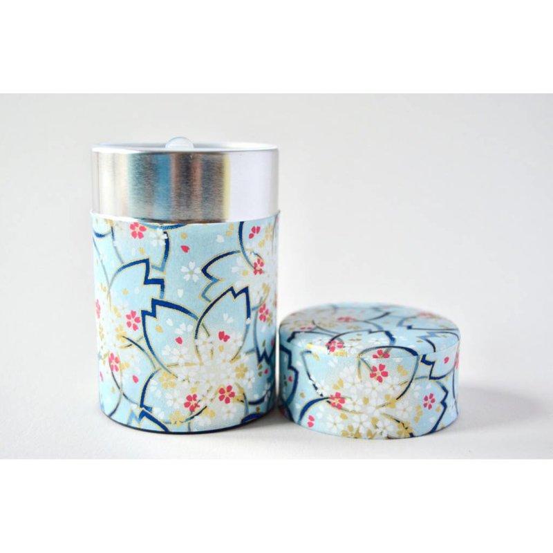 Japanese tea tin 100gr sakura - blue