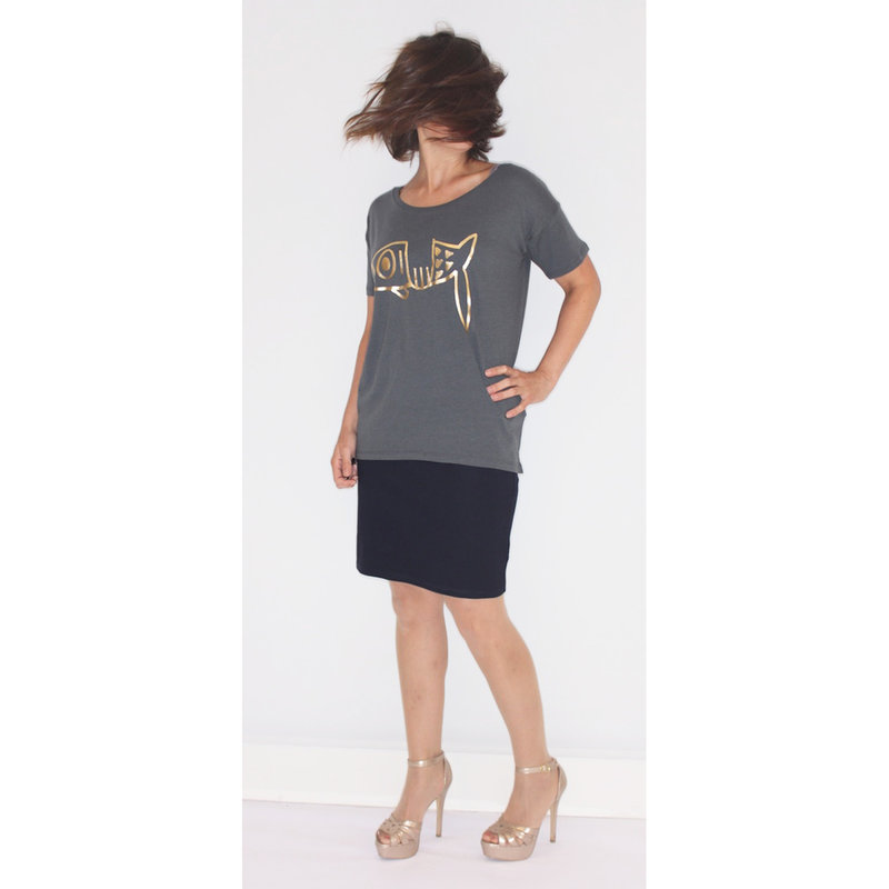 Ladies t-shirt not so lucky fish, blue-gray