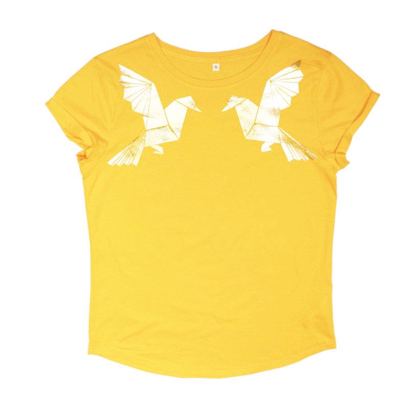 Dames t-shirt origami, geel