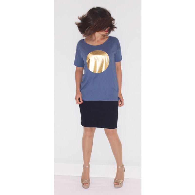 Dames t-shirt sun, blauw