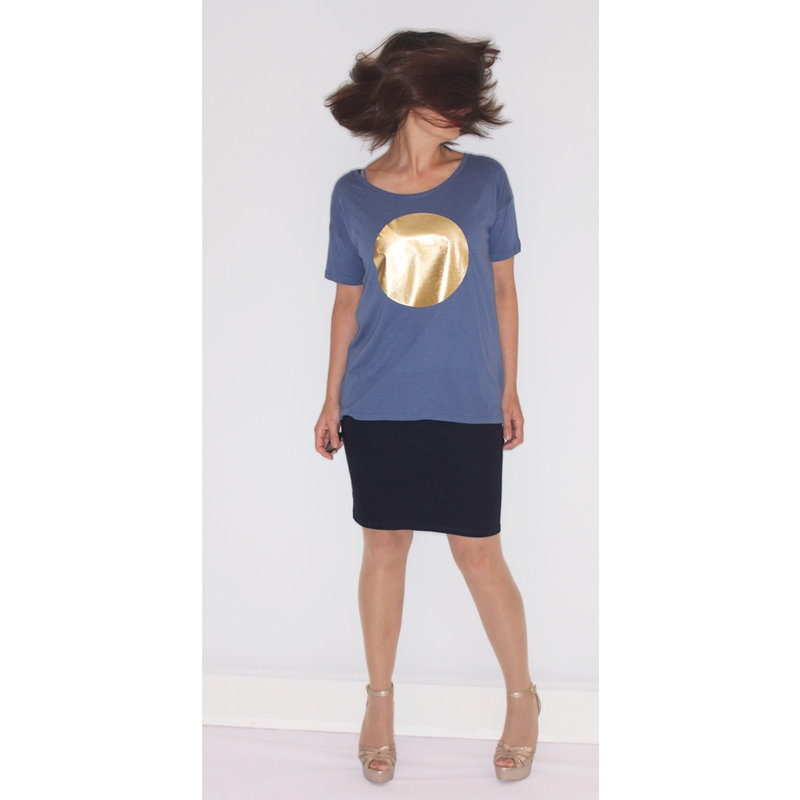 Ladies t-shirt sun, blue