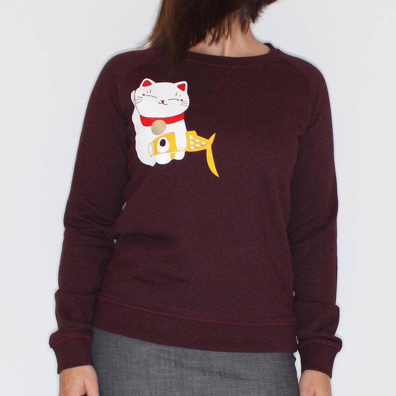 Dames sweater lucky cat, rood-bruin