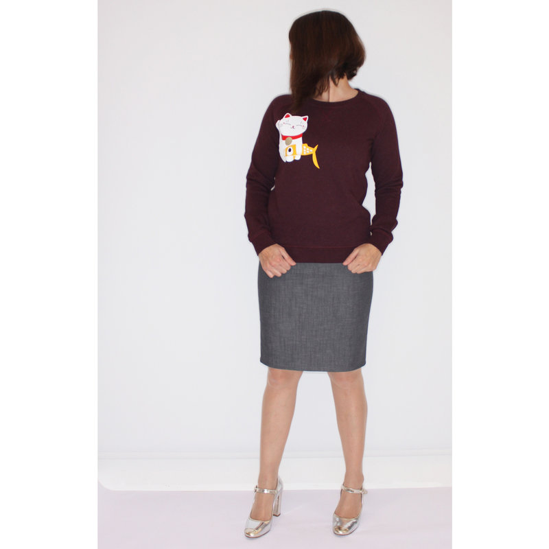 Ladies sweater lucky cat, red-brown