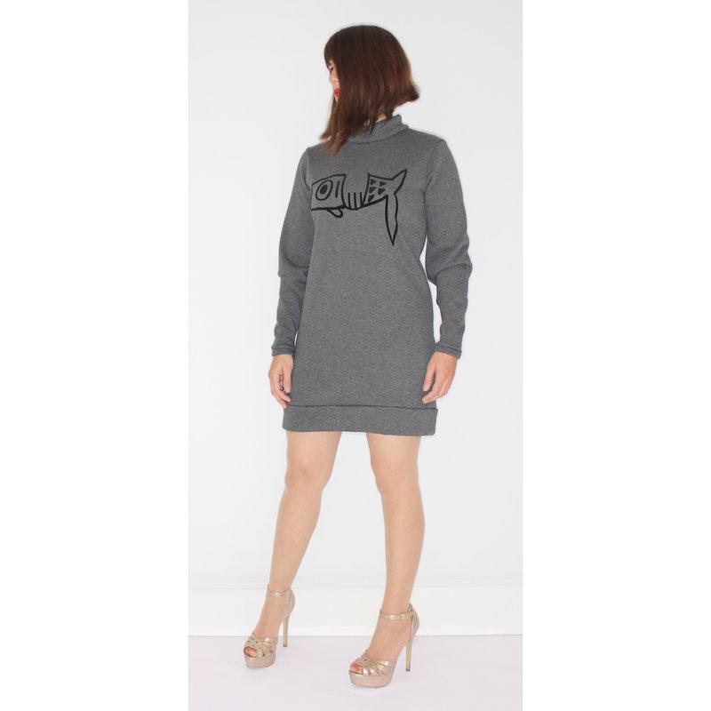Ladies sweater dress fish, heather gray