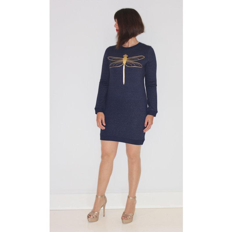 Ladies sweater dress tombo, heather blue