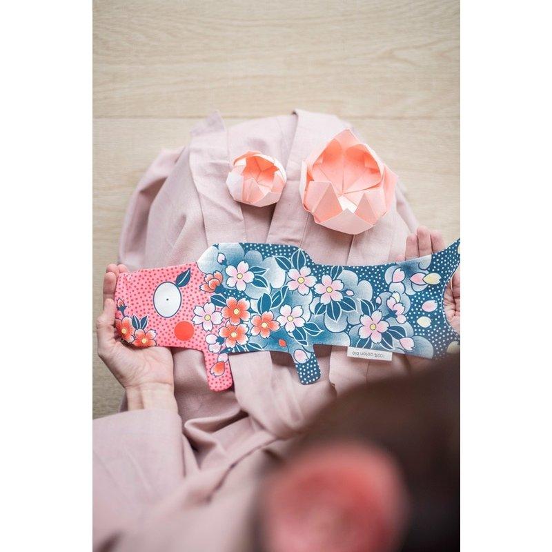 Japanese koinobori, carp flag, sakura