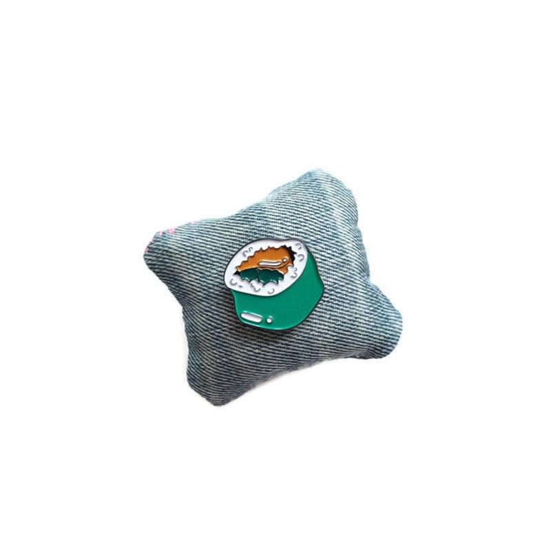 Enamel pin with maki sushi