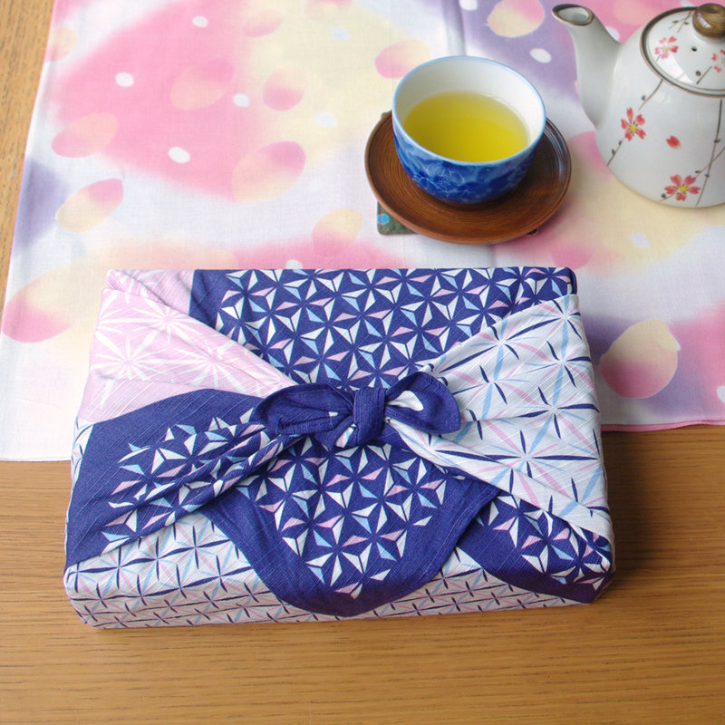 Furoshiki Japanese knot bag asanoha 50 cm