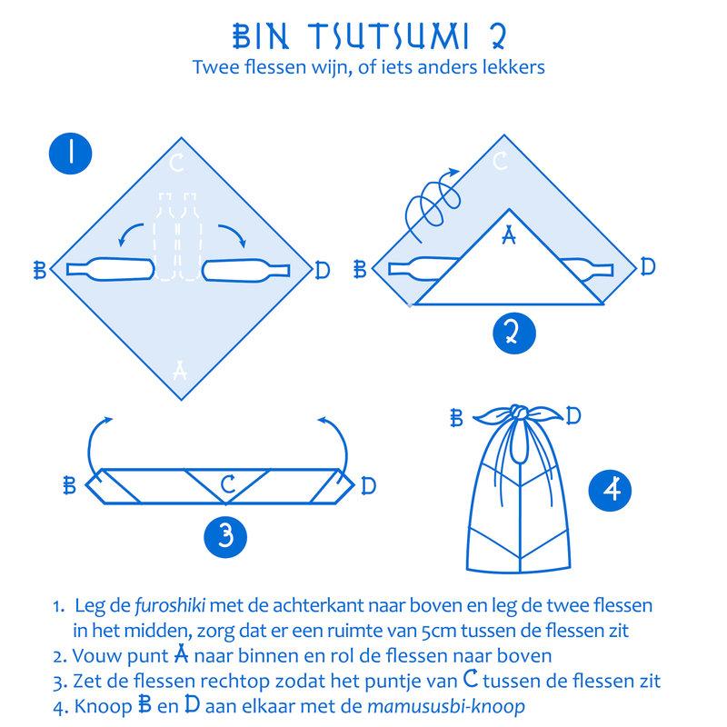 Furoshiki Japanese knot bag hydrangea L