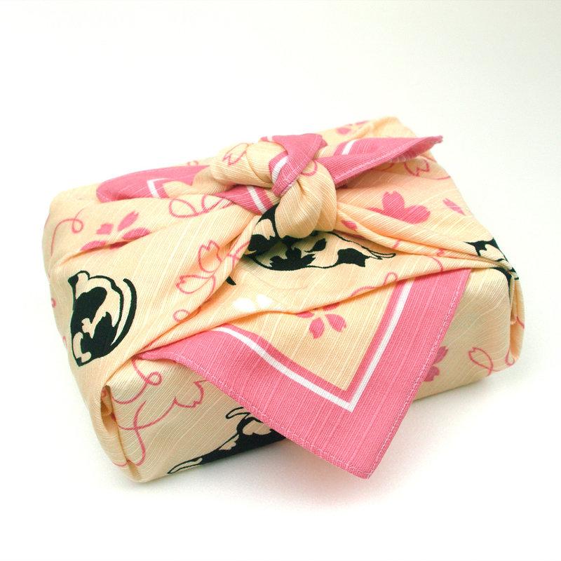 Furoshiki Japanese knot bag sakura neko