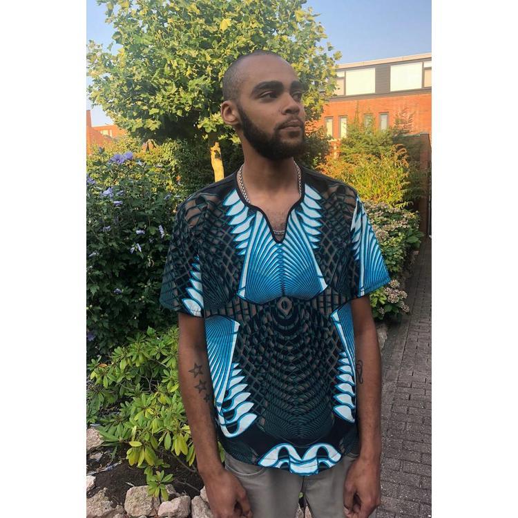 Men's shirt Hohoe of blue grey white  African cotton