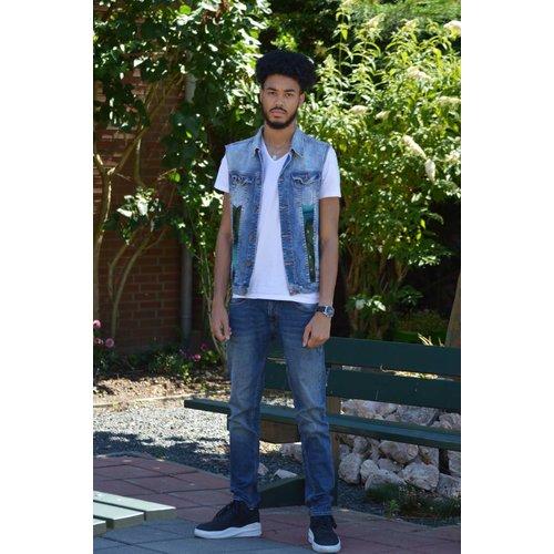 Vintage jeans giletje met blauw groene Ankara