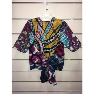 Bow blouse Sekondi of different African prints
