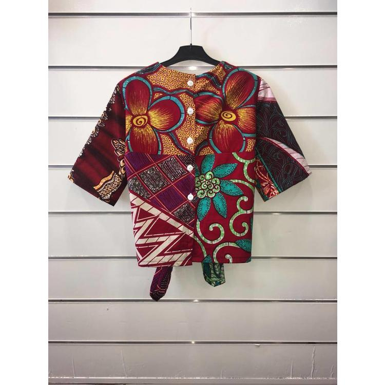 Knotted blouse Madina made of African cotton fabric
