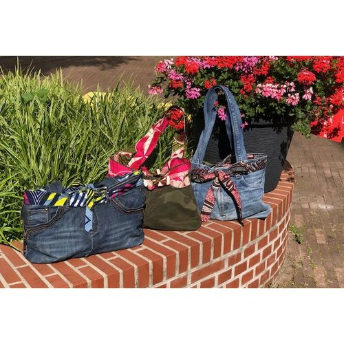 Jeans bag Accra reversible  with African fabric