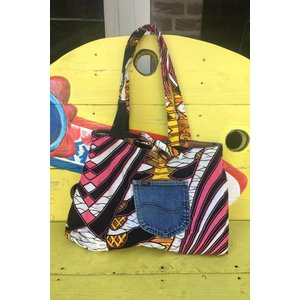 Jeans bag Kumasi reversible  with African fabric