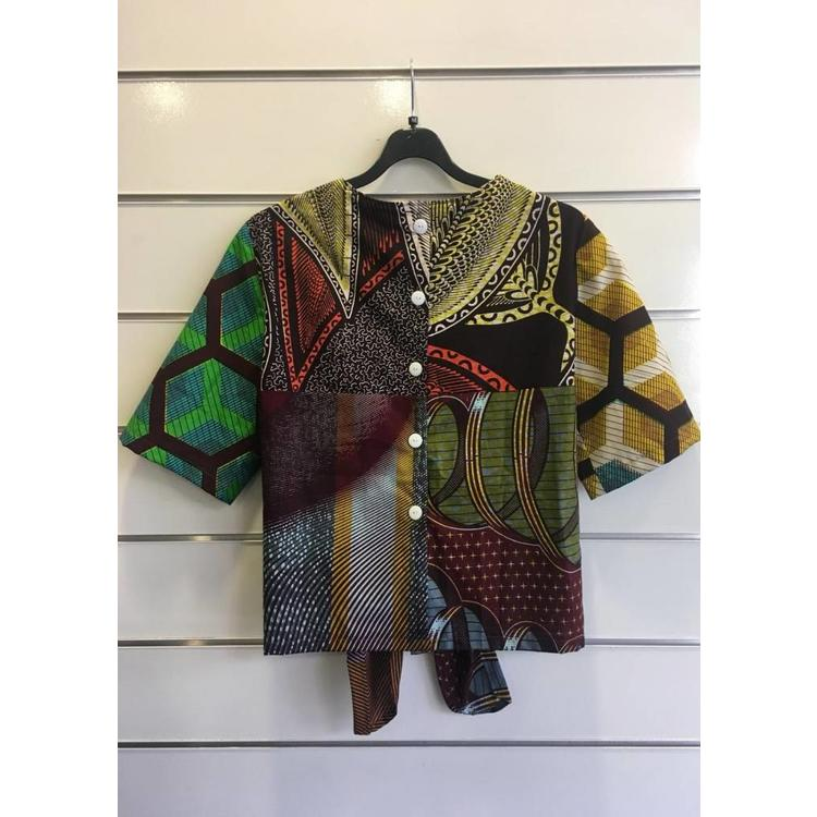 Knotted blouse Mole made of African cotton fabric