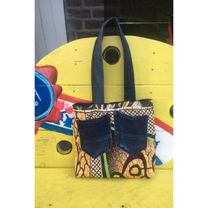 Jeans bag Shama reversible  with African fabric