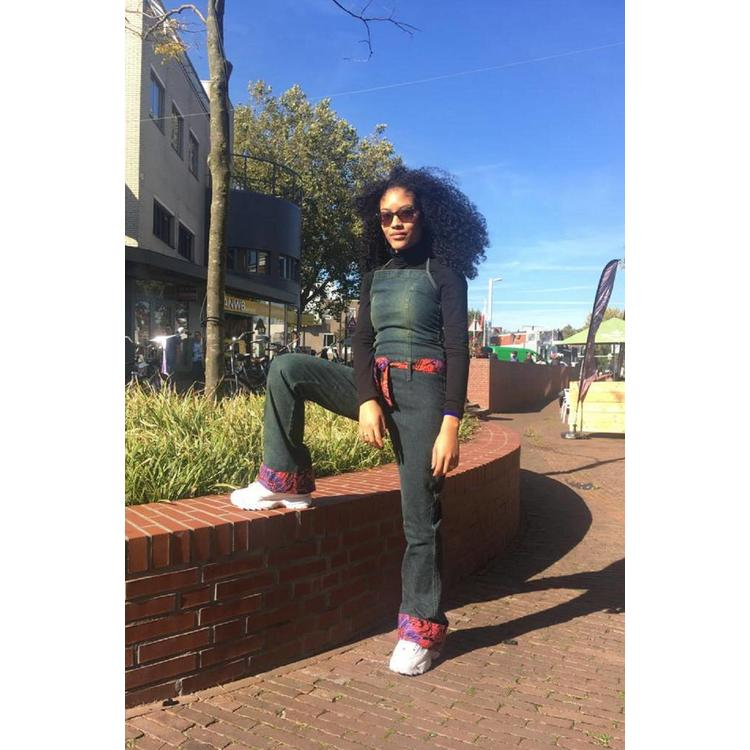 Vintage jeans jumpsuit met Afrikaanse katoen