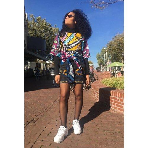 Vintage denim skirt with African cotton