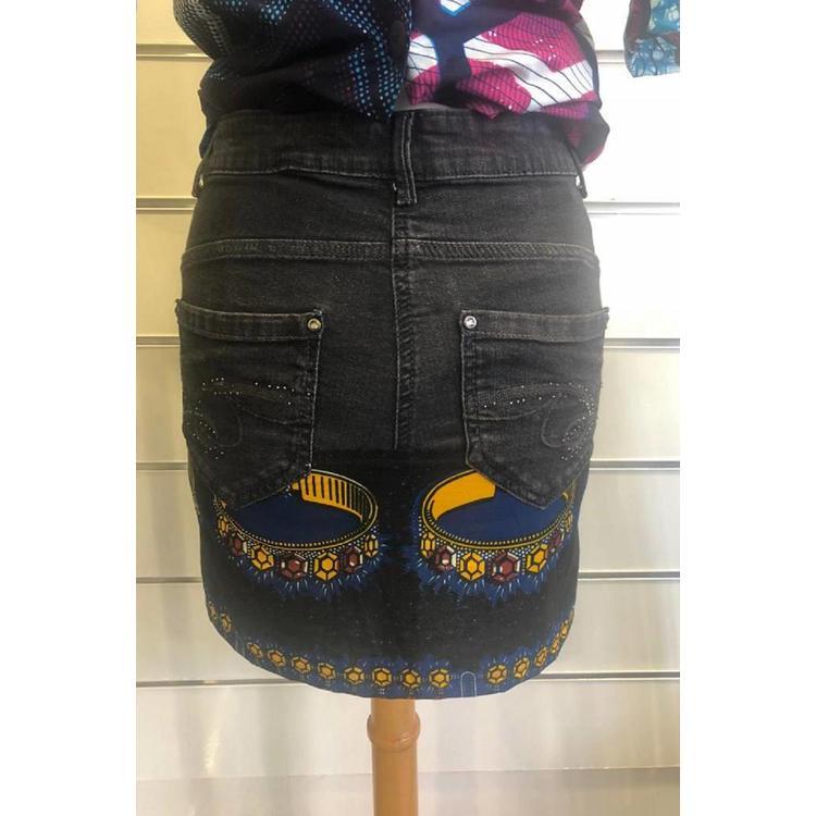 Vintage jeans rokje met Afrikaanse katoen