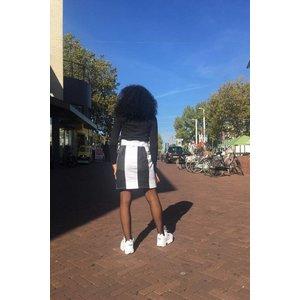 Vintage denim skirt with white Kente