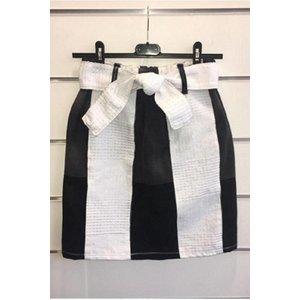 Vintage jeans rokje met witte Kente
