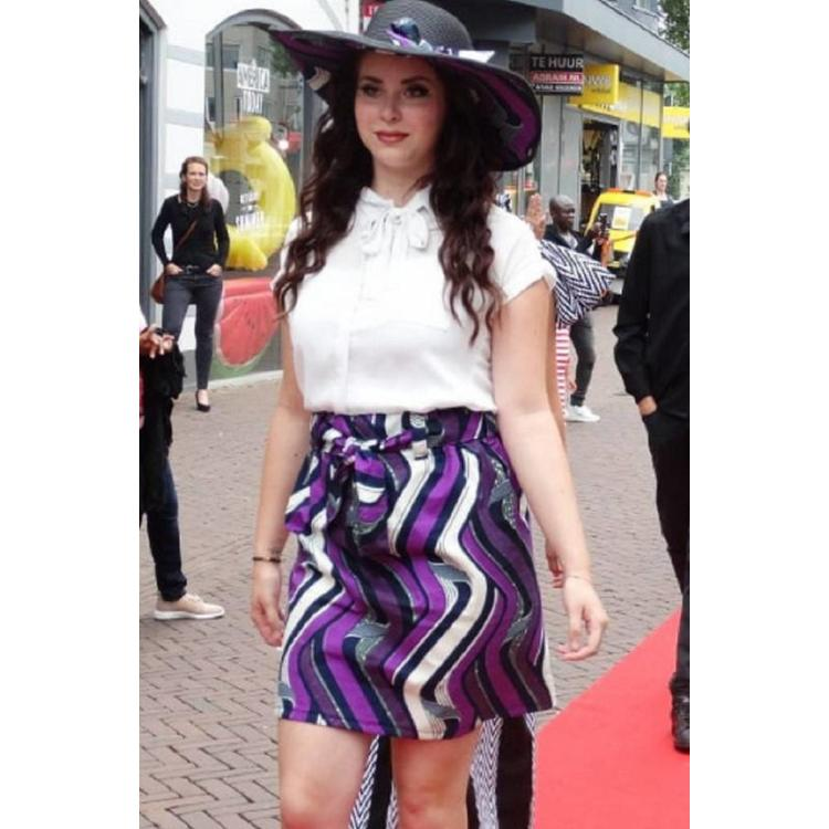 Black sun hat with purple African cotton fabric