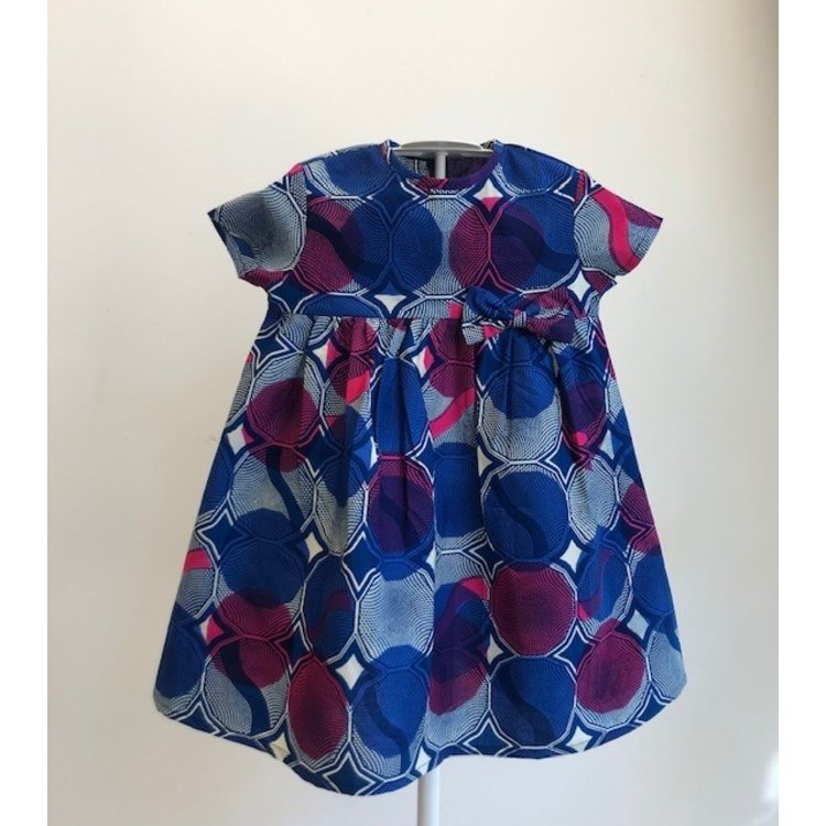 Kids dress with blue African fabric