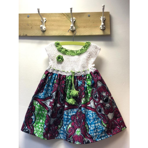 Kids dress of African cotton fabric and crocheted top