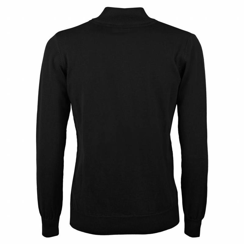 Q1905 Heren Pullover Half Zip Stoke Black