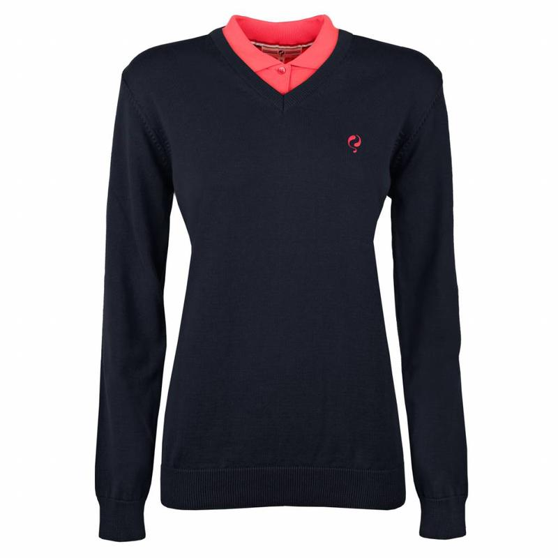 Q1905 Dames Pullover V-neck Rosewood Deep Navy / Pink Navy