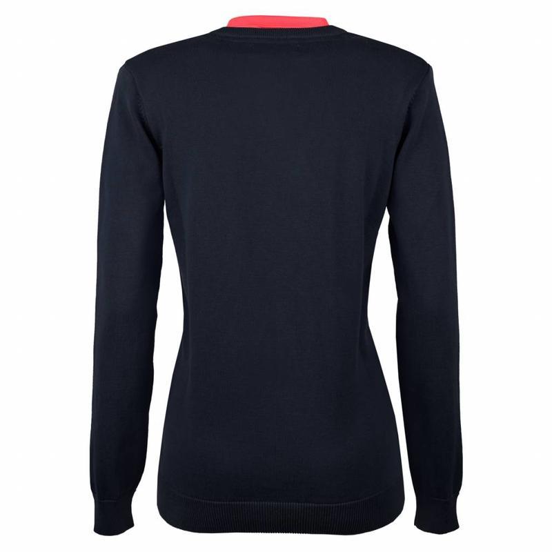 Q1905 Women's Pullover V-neck Rosewood Deep Navy / Pink Navy