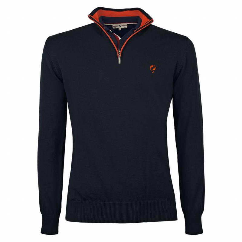 Q1905 Heren Pullover Stoke - Deep Navy / Orange