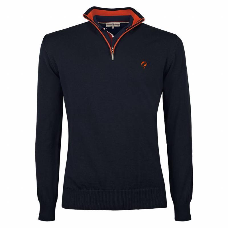Q1905 Men's Pullover Half Zip Stoke Deep Navy / Orange